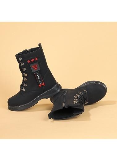 Kiko Kids Kiko TWG 7435 Kışlık ıçi Termal Kürklü Kız Çocuk Bot Ayakkabı Siyah